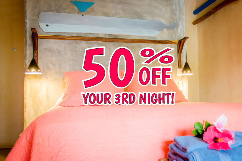 Book 3 nights and receive 50% off third night